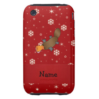 Personalized name platypus red snowflakes iPhone 3 tough covers