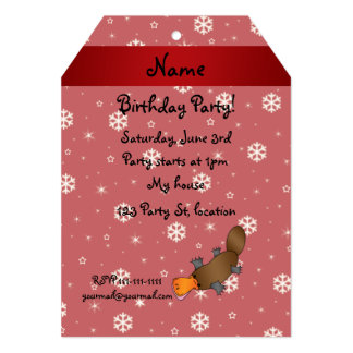 Personalized name platypus red snowflakes invitations