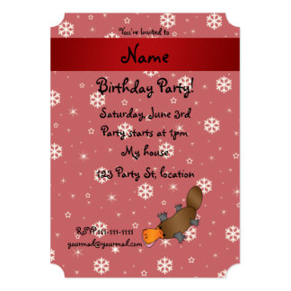 Personalized name platypus red snowflakes custom invite