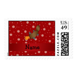 Personalized name platypus red snowflakes postage