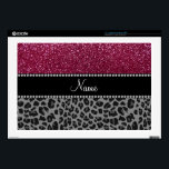 "Personalized name plum glitter black leopard 17&quot; laptop decals<br><div class=""desc"">Personalized custom name plum purple glitter (not real glitter) pattern and black leopard (animal print) pattern with a black diamond rhinestone stripe (not real diamonds) personalized with just add your name gifts or monogram gifts or your initials. Ideal for bride and groom weddings, wedding showers, engagement showers, engagement party, anniversary,...</div>"
