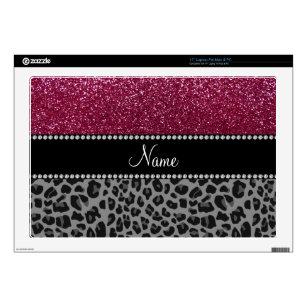 "Personalized name plum glitter black leopard 17"" laptop decals"