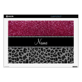 "Personalized name plum glitter black leopard 17"" laptop decals"