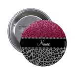 Personalized name plum glitter black leopard pinback buttons