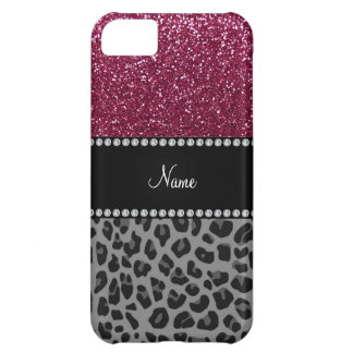 Personalized name plum glitter black leopard case for iPhone 5C