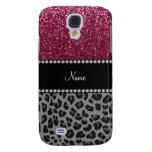 Personalized name plum glitter black leopard galaxy s4 cover