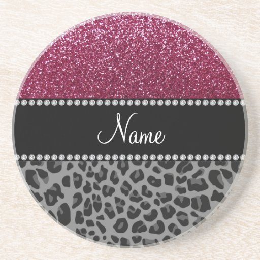 Personalized name plum glitter black leopard beverage coasters