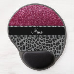 Personalized name plum glitter black leopard gel mouse pad