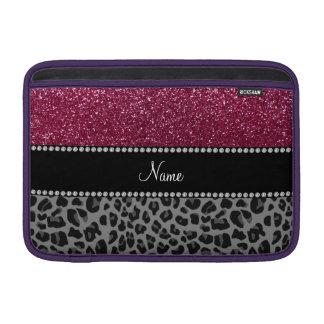Personalized name plum glitter black leopard MacBook air sleeves