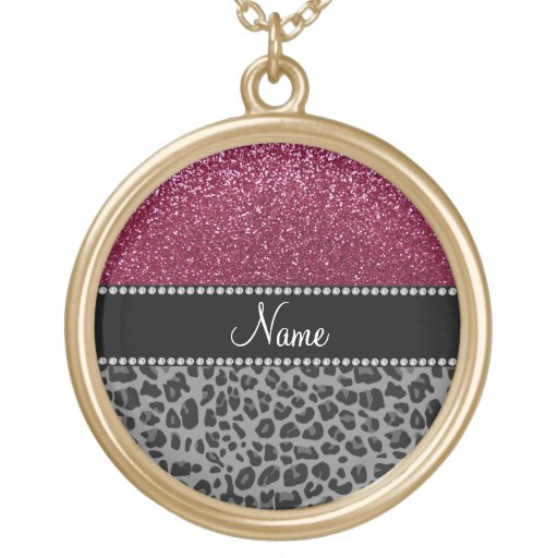 Personalized name plum glitter black leopard necklaces