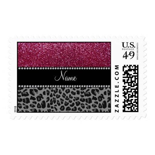 Personalized name plum glitter black leopard stamp