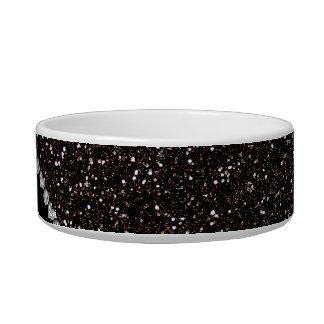 Personalized name plum pink damask black glitter bowl
