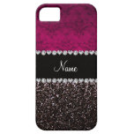 Personalized name plum pink damask black glitter case for iPhone 5/5S