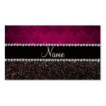 Personalized name plum pink damask black glitter Double-Sided standard business cards (Pack of 100)