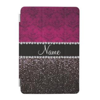 Personalized name plum pink damask black glitter iPad mini cover