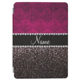 Personalized name plum pink damask black glitter iPad air cover