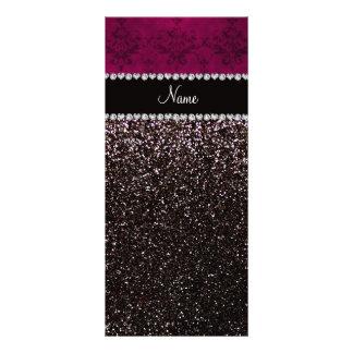 Personalized name plum pink damask black glitter rack card