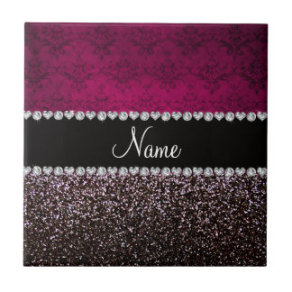 Personalized name plum pink damask black glitter ceramic tiles