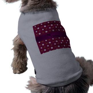 Personalized name plum purple baseball dog t-shirt