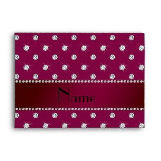 Personalized name plum purple diamonds envelopes