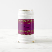 Personalized name plum purple footballs beer stein