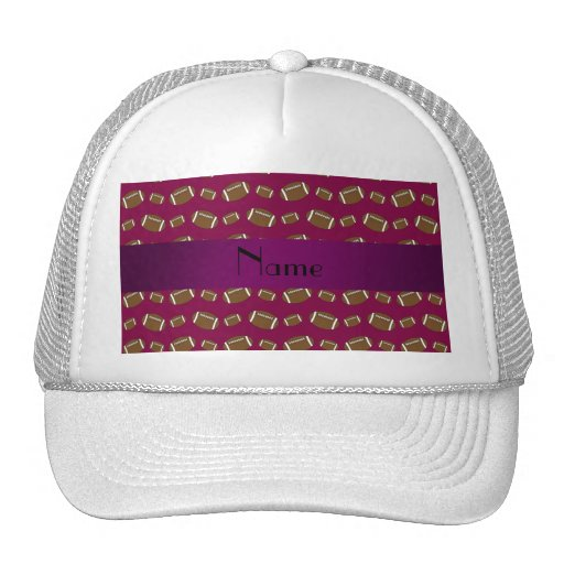 Personalized name plum purple footballs hat