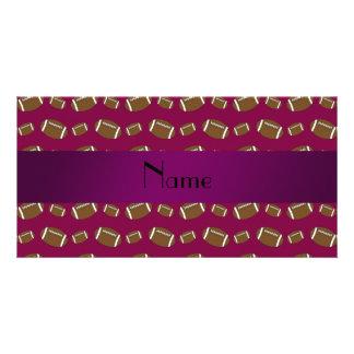 Personalized name plum purple footballs photo cards
