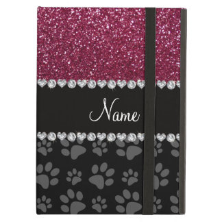 Personalized name plum purple glitter black paws cover for iPad air