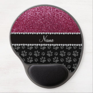 Personalized name plum purple glitter black paws gel mouse pad