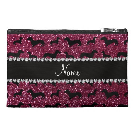 Personalized name plum purple glitter dachshunds travel accessories bags
