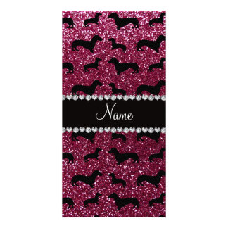 Personalized name plum purple glitter dachshunds picture card