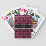 Personalized name plum purple glitter dachshunds playing cards