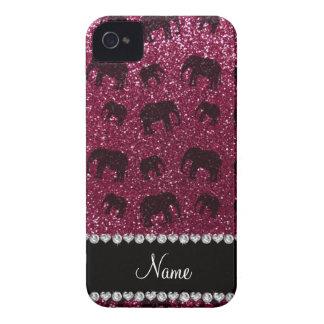 Personalized name plum purple glitter elephants iPhone 4 Case-Mate case