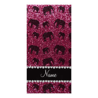 Personalized name plum purple glitter elephants picture card