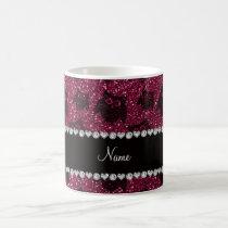 Personalized name plum purple glitter owls coffee mug