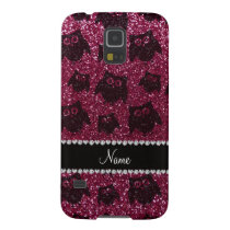 Personalized name plum purple glitter owls galaxy s5 cover
