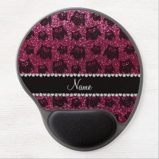 Personalized name plum purple glitter owls gel mousepads