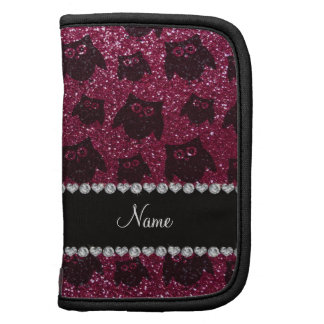 Personalized name plum purple glitter owls folio planner