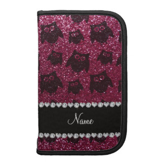 Personalized name plum purple glitter owls planner