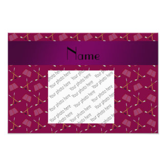 Personalized name plum purple hockey pattern photographic print