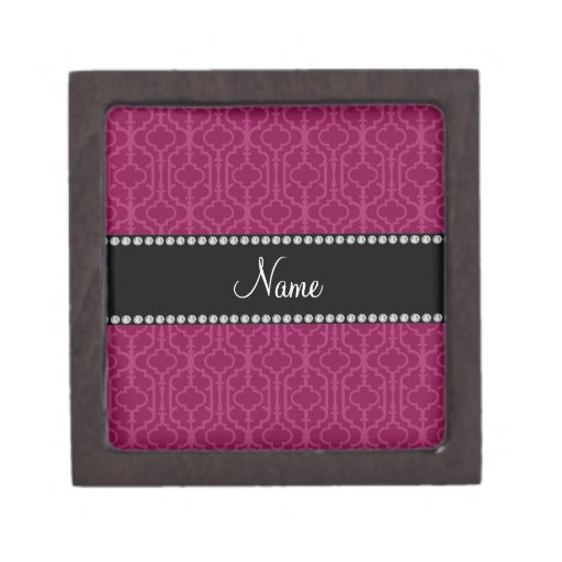 Personalized name plum purple moroccan quatrefoil premium gift box