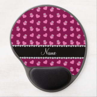 Personalized name plum purple owl hearts gel mouse pads