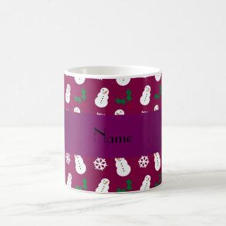 Personalized name plum purple snowman christmas coffee mugs