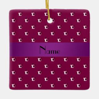 Personalized name plum purple soccer balls ceramic ornament