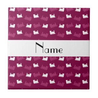 Personalized name plum purple train pattern tile