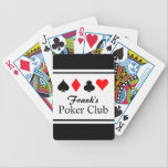 "Personalized name poker playing cards<br><div class=""desc"">Personalized name poker playing cards. Cool gift for men who love playing poker and other card games. Four suits design with custom name poker club. Also available for bridge.</div>"