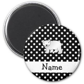Personalized name polar bear black white polka dot 2 inch round magnet