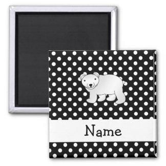 Personalized name polar bear black white polka dot 2 inch square magnet
