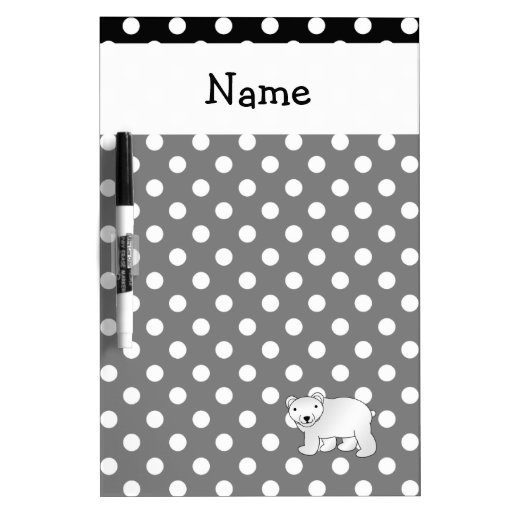 Personalized name polar bear black white polka dot dry erase white board