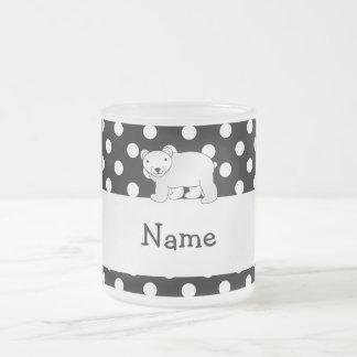 Personalized name polar bear black white polka dot 10 oz frosted glass coffee mug